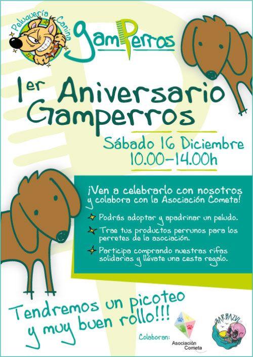 Cartel primer aniversario Peluquería Canina Gamperros